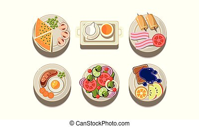 Flat vector set of plates with different dishes. Tasty food. Elements for restaurant menu or mobile app