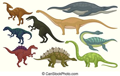Flat vector set of prehistoric animals. Dinosaurs and sea monsters. Wild creatures from Jurassic period