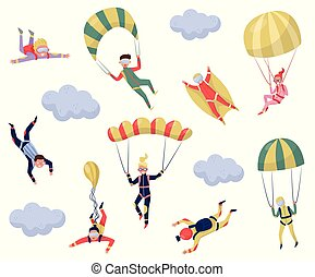 Flat vector set of professional skydivers. Extreme sport. Young wingsuit jumper. Active recreation. Skydiving theme