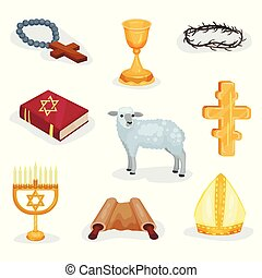 Flat vector set of religious symbols and objects. Jewish prayer book, Torah scroll, lamb and various church attributes