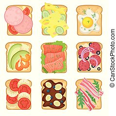 Flat vector set of sandwiches with different ingredients. Toasted bread slices with sausage, fried egg, salami, vegetables and bacon