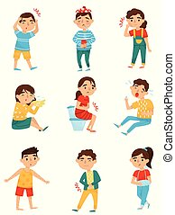 Flat vector set of sick children. Little boys and girls with...