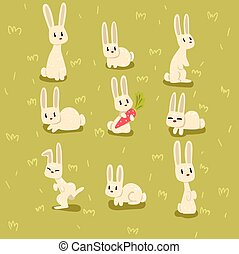 Flat vector set of small bunny in different poses on green grass. Funny animal with long ears. Elements for children book, postcard or print