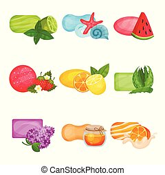 Flat vector set of soap with different aromas: sea freshness, watermelon, lime, strawberry, lemon, orange, aloe, honey and flowering lilac. Cosmetics for skin care and personal hygiene