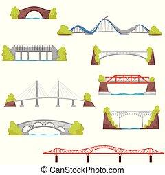 Flat vector set of stone, brick and metal bridges. City construction elements. Architecture theme