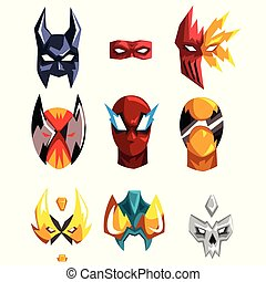 Flat vector set of superheroes masks. Clothing attribute for...