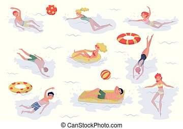 Flat vector set of swimming people. Young boys and girls in swimwear. Active recreation at sea. Summer holiday