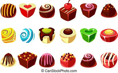 Flat vector set of tasty candies with various filling. Delicious chocolate sweets in different shapes (ball, heart, cube). Graphic design for confectionery shop