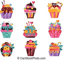 Flat vector set of tasty cupcakes with gradients and texture. Sweet muffins decorated with berries, fruits, candy canes and mint leaves