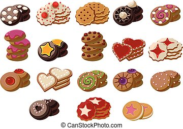 Flat vector set of tasty fresh-baked cookies with different flavours. Delicious pastry product. Sweet snacks for tea break. Cartoon elements for bakery shop menu