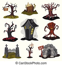 Flat vector set of terrible landscape elements. Creepy house, old dry trees, stone cave, old iron entrance gate. Halloween theme