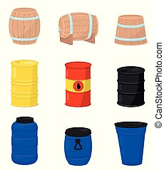 Flat vector set of various barrels. Wooden containers for beer or wine, plastic water tanks, metal drum with crude oil