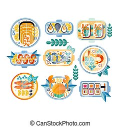 Flat vector set of various seafood dishes. Boiled crab, mussels, shrimps, salmon, tuna, sushi and sandwiches with caviar