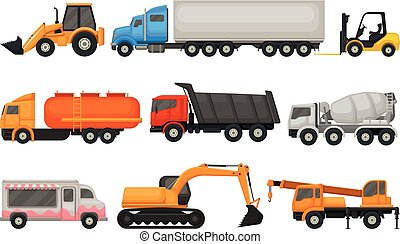 Flat vector set of various types of vehicles. Semi trucks, dumper, food van, tractor, forklift and heavy construction machinery