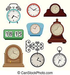 Flat vector set of various types on clocks. Stopwatch and alarm clock. Elements for promo poster of antiques or souvenir shop