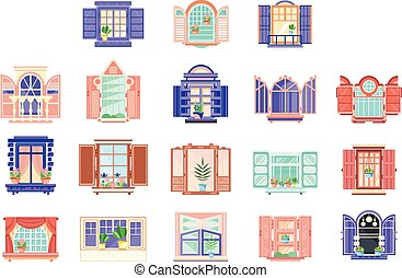 Flat vector set of wooden window frames with doors. Elements for building exterior. House construction theme