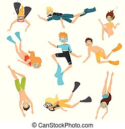 Flat vector set of young divers. People in swimsuits swimming underwater. Active recreation. Scuba diving and snorkeling