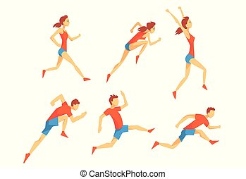 Flat vector set with energetic man and woman in running action. Athletes in sportswear. Professional runners. Active sport people