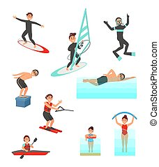 Flat vector set with young people involved in various water sports. Summer vacation. Active lifestyle