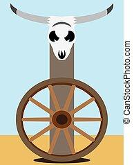 Flat Vector Steer Skull 2 - A flat vector steer skull is...