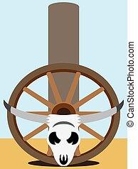 Flat Vector Steer Skull - Steer skull and wagon wheel are...