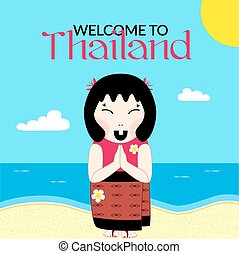 Flat vector thai woman with namaste - Flat vector woman in...
