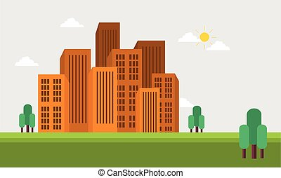 Flat vector town skyline of silhouette