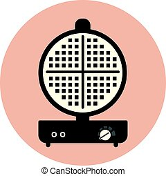 Flat vector waffle maker iron icon, sandwich maker
