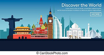 Flat vector web banners on the theme of travel by airplane, vacation, adventure. Flight in the stratosphere. Around the World.