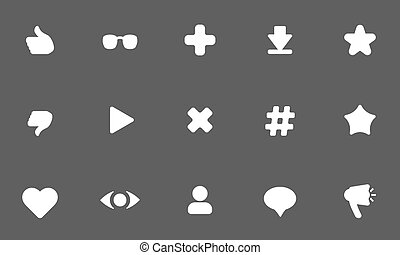 flat vector white icons on dark background .