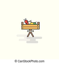 Flat Vegetable basket Icon. Vector