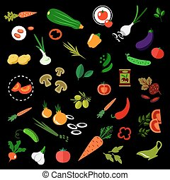 Flat vegetables icons with herbs and olives