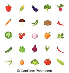 Flat vegetables set