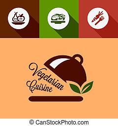 flat vegetarian cuisine design elements - Vegetarian Cuisine...