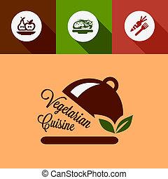 Vegetarian Cuisine Design Elements in Flat Design Style.