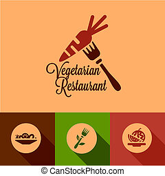 flat vegetarian restaurant icons - Vegetarian Restaurant ...