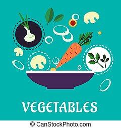 Flat vegetarian salad with fresh vegetables