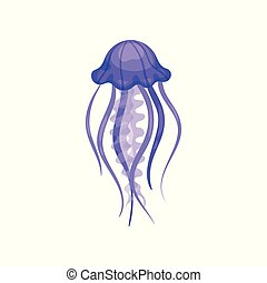 Flat verctor icon of bright purple jellyfish. Marine animal with long tentacles. Swimming sea creature. Element for mobile game or sticker