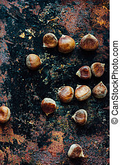 Flat view of chestnuts.