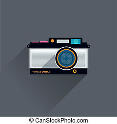 Flat Vintage Camera Icon