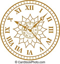 Watch face antique clock illustration. - Flat watch face...