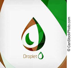 Flat water drop geometric shape concept