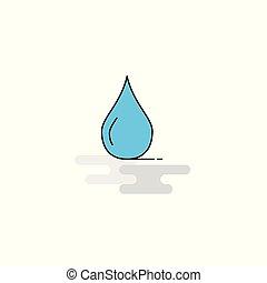 Flat Water drop Icon. Vector