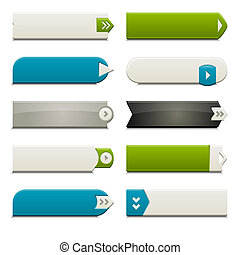 Flat Web Buttons Elements - Ten call to action buttons, with...