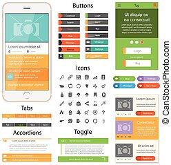 Flat Web design - Web design elements for website or app....