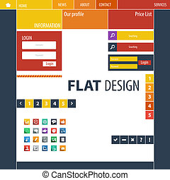 Flat Web Design, elements, buttons, icons.