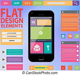 Flat Web Design, elements, buttons, icons
