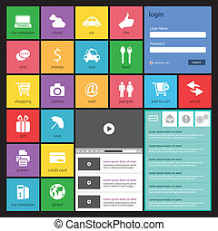 Flat Web Design, elements, buttons,