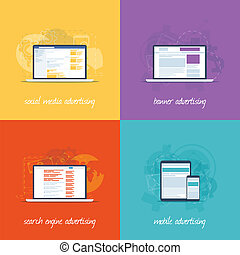 Flat web design icons for internet