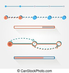Flat web design progress bars set. Vector illustration